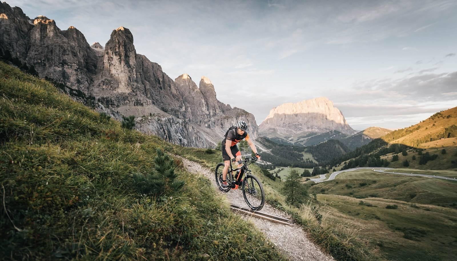 Ein Mountainbiker fährt den Trail hinunter.